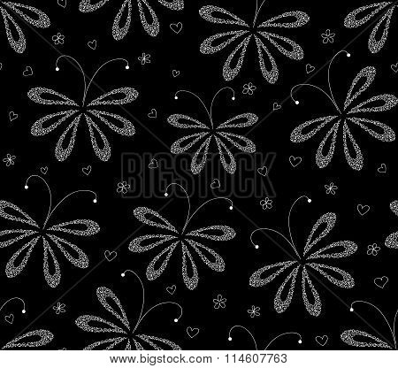 Abstract black and white floral vector seamless pattern with figured moths. Endless texture