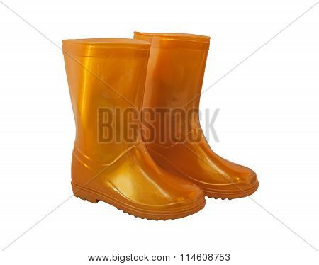 Golden-yellow Rain Boots On White Background.