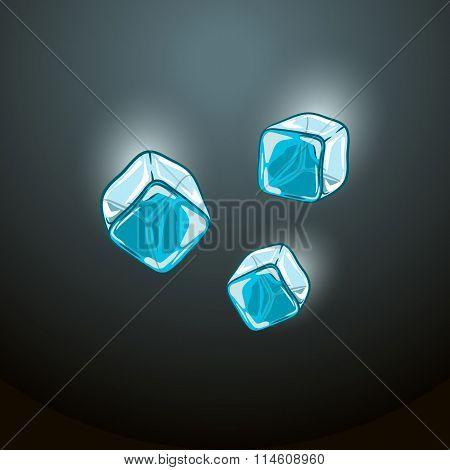 vector illustration of falling ice cubes on a dark blue background.