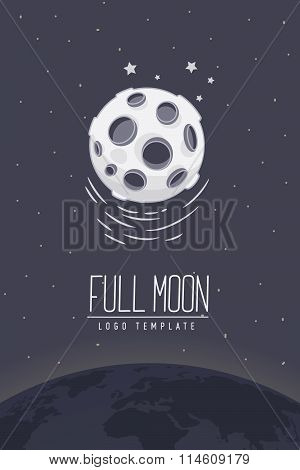 Full moon. Colored vector illustration or symbol with lettering. Template for logotype. Flyer, poste