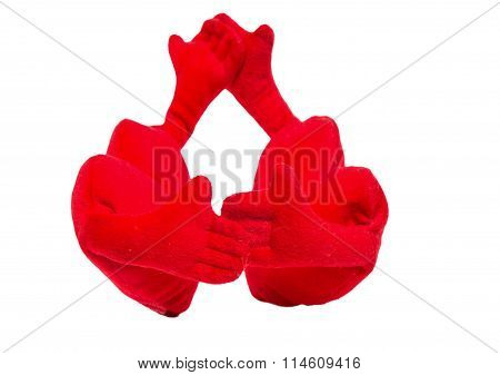 Two Soft Toy Hearts With Handles Were Going To Dance Slow Pair Dance