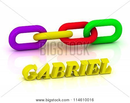 3D illustration GABRIEL- Name and Family of bright yellow letters and chain of green yellow red section on white background