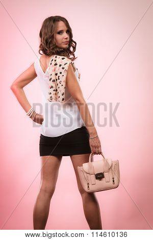 Fashionable Girl Holding Bag Handbag.