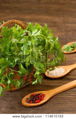 Bundle of parsley in punnet