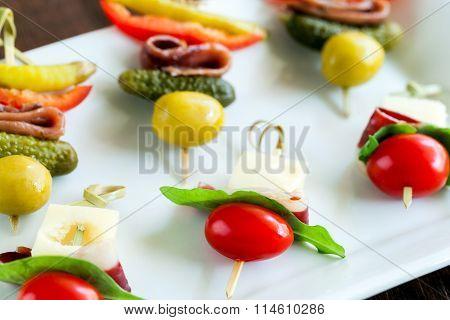 Variety Of Mini Skewer Appetizers.