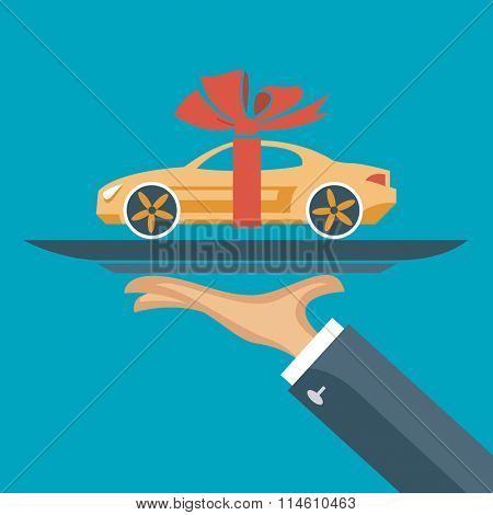 flat illustration of hand with a car on a tray