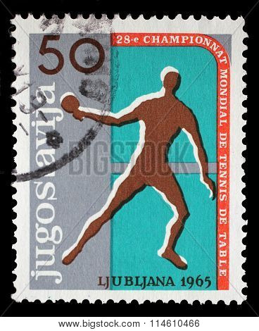 YUGOSLAVIA - CIRCA 1965: A stamp printed by Yugoslavia shows 28th World Table Tennis Championship in Ljubljana, circa 1965.