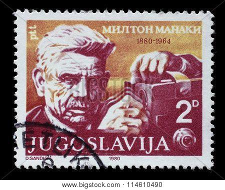 YUGOSLAVIA - CIRCA 1980: a stamp printed in Yugoslavia shows The 100th Anniversary of the Birth of Milton Manaki(1880-1964), cinematographer, circa 1980.