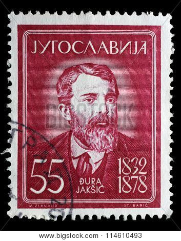 YUGOSLAVIA - CIRCA 1960: a stamp printed in Yugoslavia shows Dura Jaksic, Serbian poet, circa 1960.