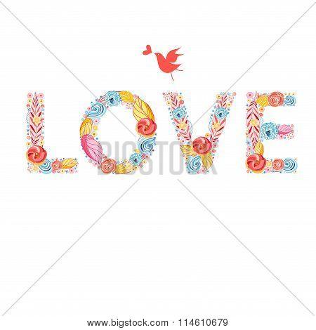 Festive beautiful inscription love