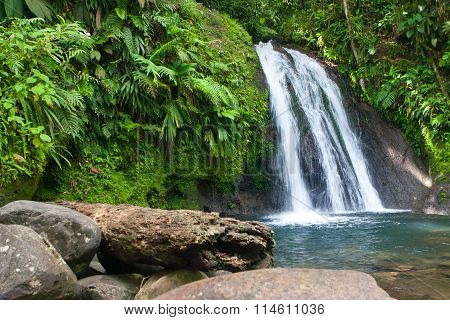 Beautiful Waterfall On Guadeloupe Island