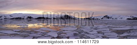 Panorama Antarctica Summer Sunset