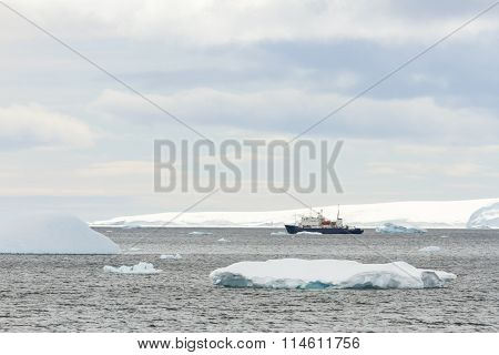 Research Ship In Antarctica