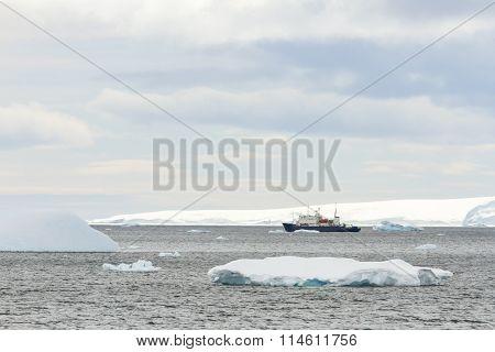 Research Ship In Antarctica