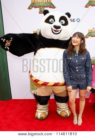 Po and Haley Tju at the Los Angeles premiere of  'Kung Fu Panda 3' held at the TCL Chinese Theater in Hollywood, USA on January 16, 2016.