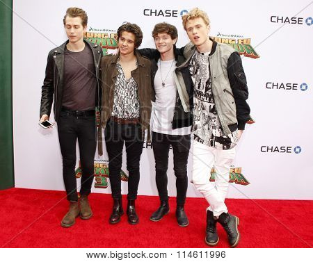 Connor Ball, Tristan Evans, James McVey and Brad Simpson of The Vamps at the Los Angeles premiere of  'Kung Fu Panda 3' held at the TCL Chinese Theater in Hollywood, USA on January 16, 2016.