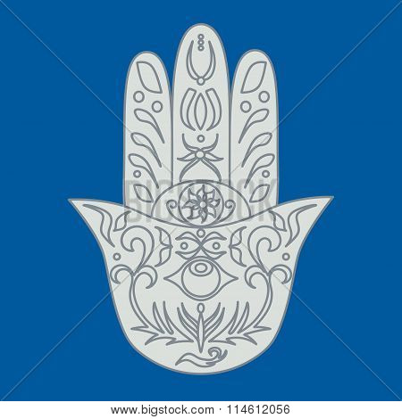 Elegant Ornate Hand Drawn Hamsa. Hand Of Fatima. Good Luck And Protection Amulet In Indian.