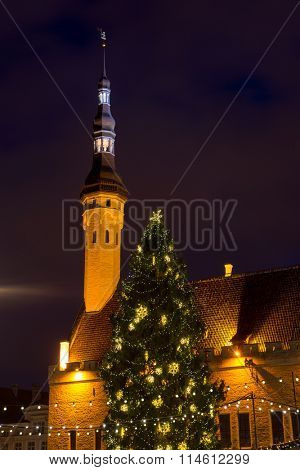 City hall square at Christmas in Tallin, Estonia