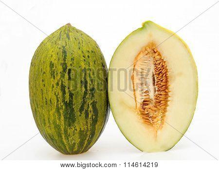 whole and half melon bollo white isolated