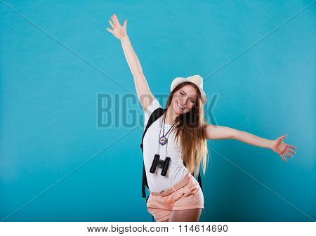 Tourist Woman Spreading Hands With Joy,