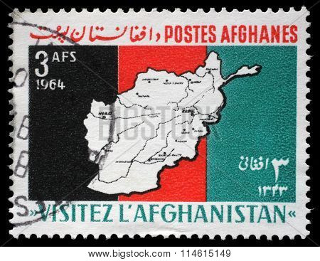 AFGHANISTAN - CIRCA 1964: a stamp printed in the Afghanistan shows a map of Afghanistan with the inscription Visit Afghanistan, circa 1964.