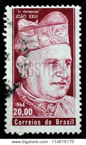 BRAZIL - CIRCA 1964: A stamp printed by Brazil. In memoriam Papa John XXIII, circa 1964.