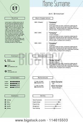 Vector creative resume template. Minimalist style. CV infographic elements.