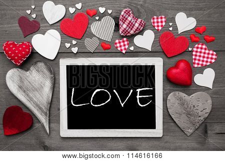 Black And White Chalkbord, Red Hearts, Love