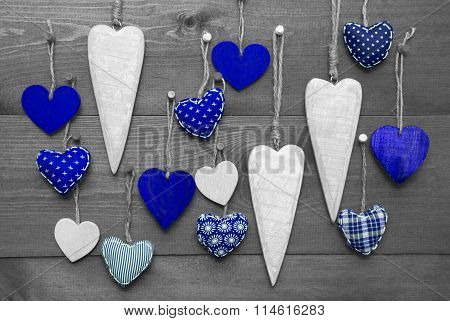 Blue Hearts For Valentines Daecoration, Black And White Image