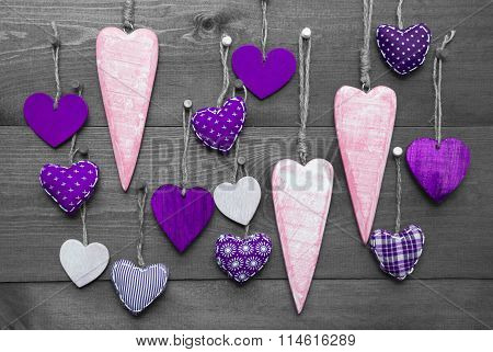 Purple Hearts For Valentines Daecoration, Black And White Image