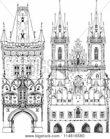 Prague cathedral and town tower,  sketch collection