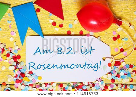 Party Label With Balloon, Text Rosenmontag Means Carnival, Macro