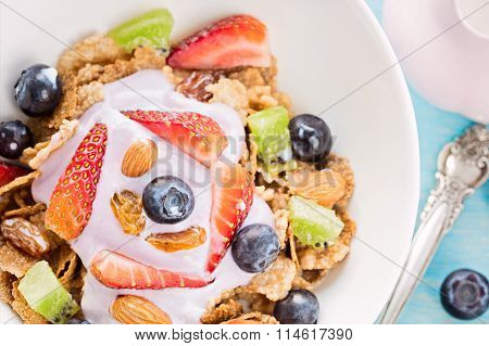 Cereal With Berries, Milk And Yogurt, Healthy Breakfast Concept