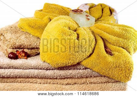 Several Spa Towels In Pastel Colors Overwhite Closeup