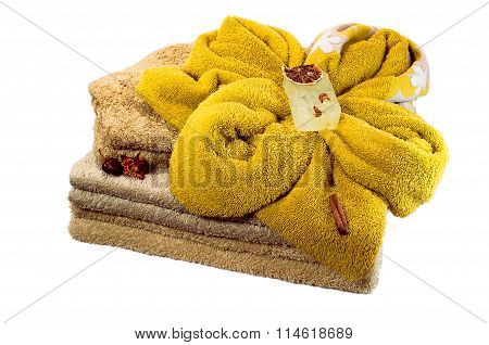 Bath Accessories From The Diffrent Of Towels And Soap Isolated On White