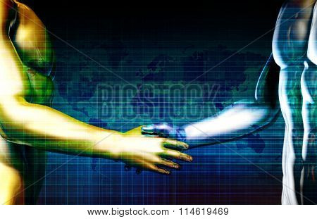 Business Integration Network with Hands Shaking Abstract