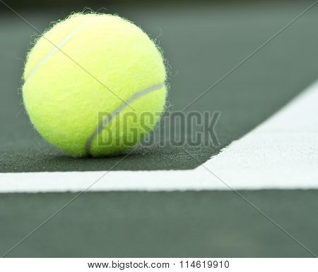 Tennis Ball close up Inside Tennis Court