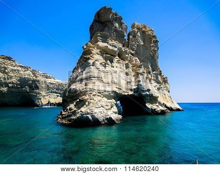 Rock arches and caves in the sea