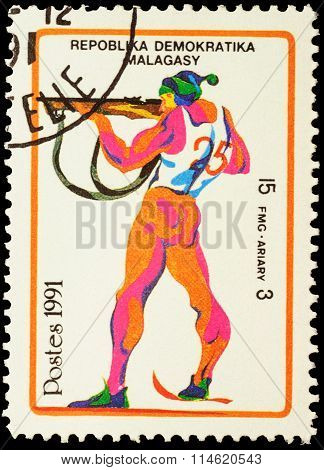 Colored Picture Of Shooting Skier On Post Stamp