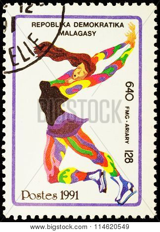 Colored Picture Of Figure Skater On Post Stamp