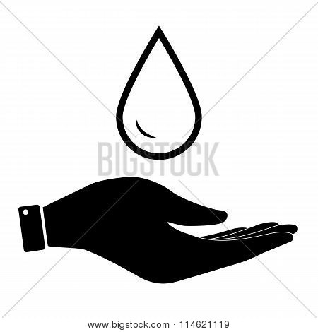 Water drop in hand icon