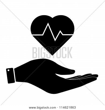 Heartbeat in hand icon