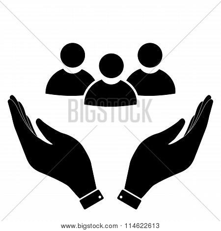 Society in hand icon