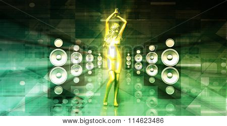 Lady in the Nightclub Grooving to the Beats