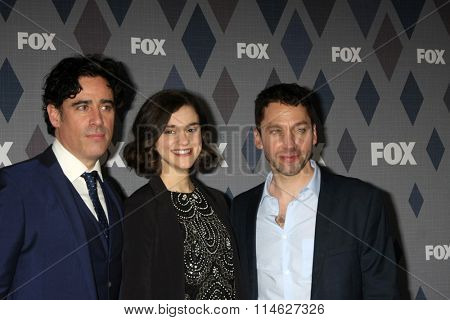 LOS ANGELES - JAN 15:  Stephen Mangan, Rebecca Liddiard and Michael Weston at the FOX Winter TCA 2016 All-Star Party at the Langham Huntington Hotel on January 15, 2016 in Pasadena, CA