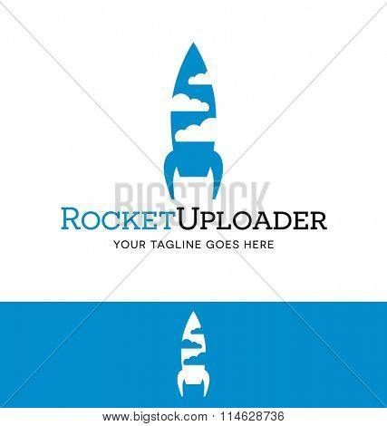 Logo design of a rocket and clouds for computer or tech business or website