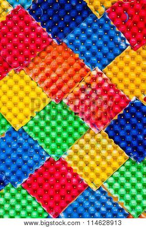 Closeup Detail Of Multi Color Fabric Texture