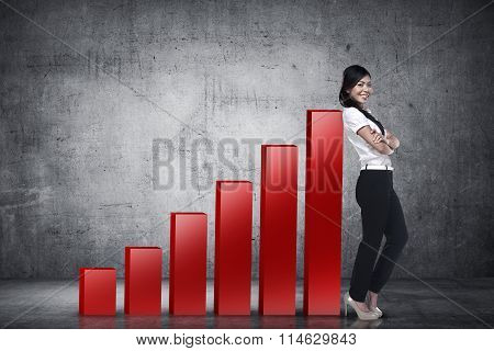Business Woman Lean On Graph