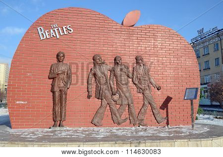 Ulaanbaatar, Mongolia - Dec, 03 2015: Monument To Legendary Group The Beatles In Ulaanbaatar