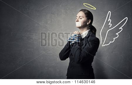 Woman praying for mercy
